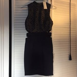 NWT- Small- Slim fitting navy nude cut out dress